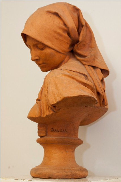 Terracotta bust, signed Dalou